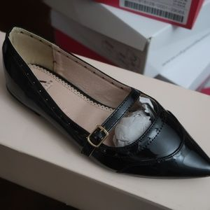 Black Patent Faux Leather Pointed Toe Flats